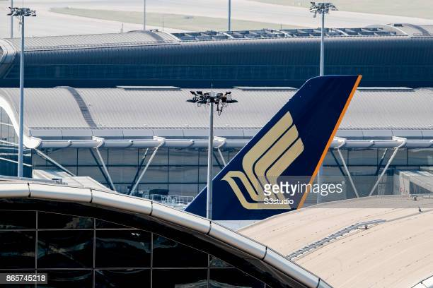 The logo of Singapore Airlines is displayed on the tail fin of an Airbus A380 passenger plane at the Hong Kong International Airport on 23 October...