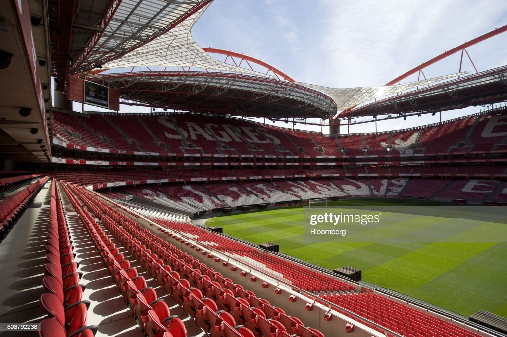 The logo of sponsors Sagres sits on audience seating at the Sport Lisboa e Benfica Luz stadium in Lisbon, Portugal, on Thursday, April 27, 2017. Portuguese teams breed athletes for the most lucrative leagues in the worlds richest sport and it gives the nation of 10 million with limited domestic income from television rights and merchandising a slice of global soccers riches. Photographer: Paulo Duarte/Bloomberg via Getty Images