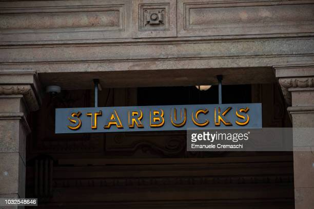 The logo of Starbucks Reserve Roastery is pictured during the opening of Europe's largest and Italy's first Starbucks located inside a historic post...