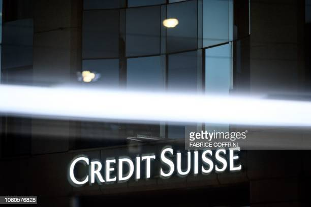 The logo of Swiss banking group Credit Suisse is pictured on November 11 2018 in Geneva