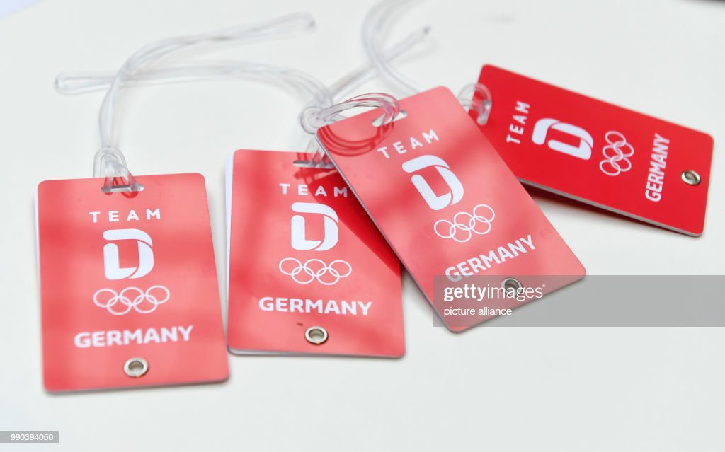The logo of Team Germany on name tags, photographed during the