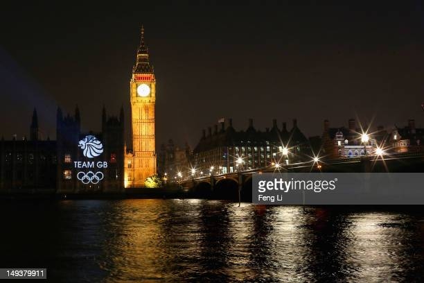 The logo of Team Great Britain is projected onto the House of Parliament and Big Ben during a light show to mark the start of the 2012 Olympic Games...