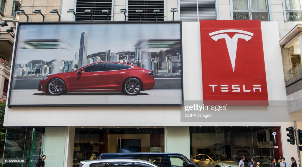 The logo of TESLA is pictured at Wan Chai, Hong Kong. : News Photo