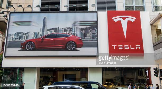 The logo of TESLA is pictured at Wan Chai Hong Kong Teslais an American automotive and energy company based in Palo Alto California