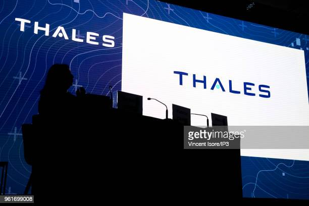 The logo of Thales at the Thales group general shareholders meeting on May 23 2018 in Paris France The electronics group specializing in aerospace...