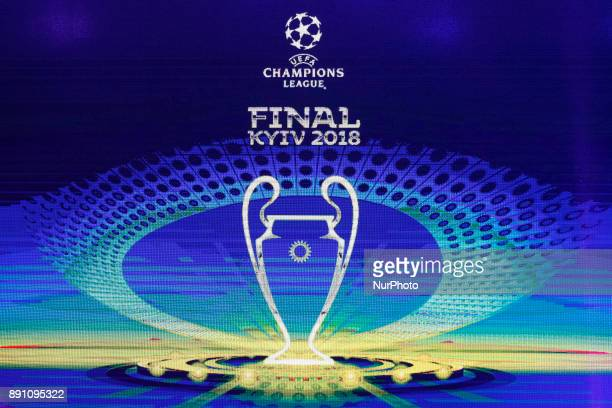 The logo of the 2018 Champions League final soccer match is pictured during presentation in Kiev Ukraine 12 December 2017 The UEFA Champions League...