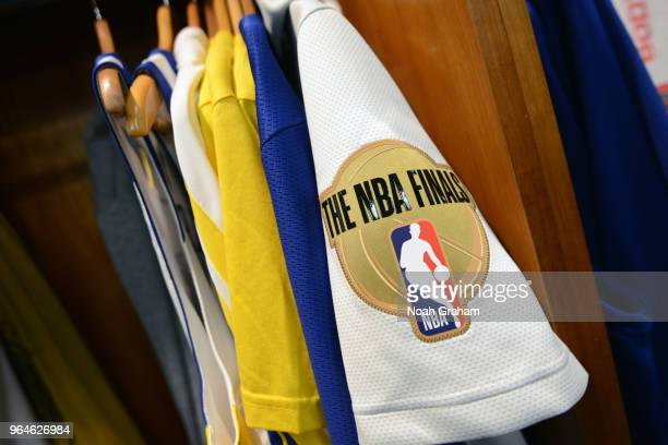 The logo of the 2018 NBA Finals before the game between the Golden State Warriors and the Cleveland Cavaliers in Game One of the 2018 NBA Finals on...