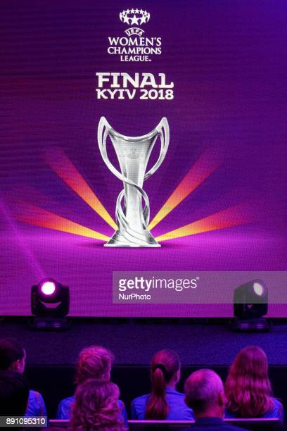 The logo of the 2018 Women's Champions League final soccer match is pictured during presentation in Kiev Ukraine 12 December 2017 The UEFA Champions...
