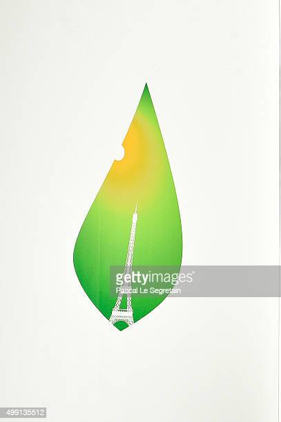 The Logo of the 21st Session of the Conference on Climate change 'COP21 Paris' is seen on November 25 2015 in Le Bourget France