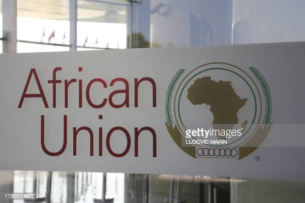 The logo of the African Union is seen at the entrance of the AU headquarters on March 13 in Addis Ababa