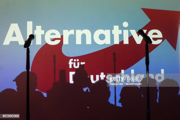 The logo of the Alternative fuer Deutschland is seen on the stage at the political party during the federal elections of Germany on September 24 2017...