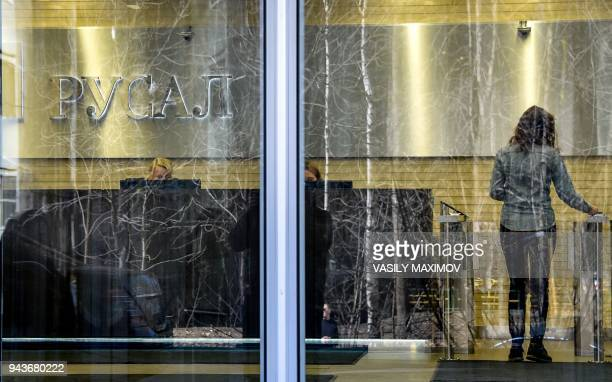 The logo of the aluminium giant United Company RUSAL is seen at the headquarters in Moscow on April 9 2018 Shares in Russian aluminium giant Rusal...