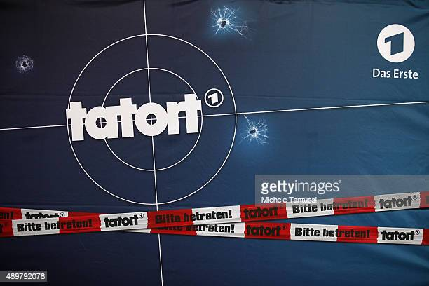 The logo of the ARD criminal tv programme TATORT is pictured during the photocall on set of the TV series 'Tatort Fuenf Minuten Himmel' on September...