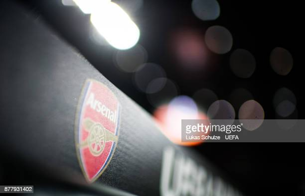 The logo of the Arsenal London is seen prior to the UEFA Europa League group H match between 1 FC Koeln and Arsenal FC at RheinEnergieStadion on...