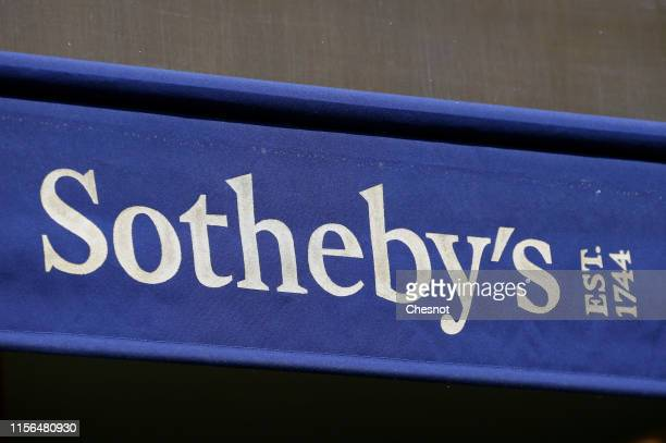 The logo of the auction house Sotheby's is displayed on the facade of the Rue Faubourg St Honore shop on June 17, 2019 in Paris, France. The French...