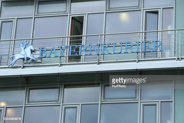 The logo of the Bayernkurier is seen on the headquarters of the Christian Social Union in the MiesvanderRoheStrasse in Munich Bavaria Germany The...