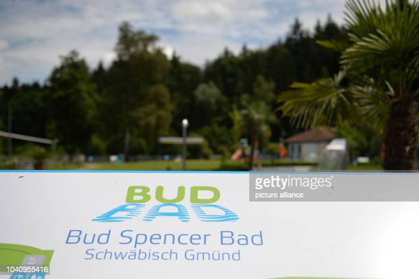The logo of the Bud Spencer public pool in Schwaebisch Gmuend Germany 28 June 2016 The visitors of the public pool named after Italian actor Carlo...