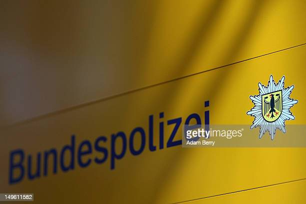 The logo of the Bunespolizei is seen at the Hauptbahnhof or main train station on August 1 2012 in Berlin Germany The topic of today's German federal...