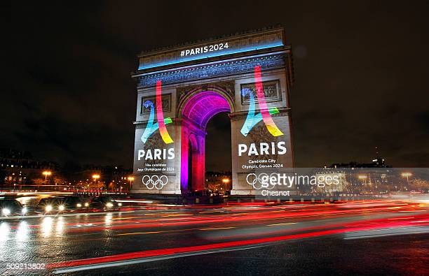 The logo of the candidacy of Paris 2024 is projected on the Arc de Triomphe on February 09 2016 in Paris France The city of Paris is a candidate for...