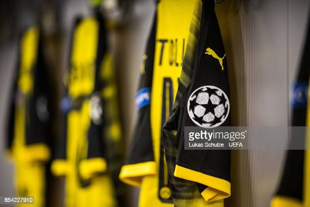 The logo of the Champions League is seen on a jersey of Dortmund prior to the UEFA Champions League group H match between Borussia Dortmund and Real...