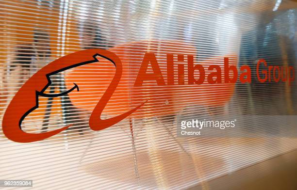 The logo of the Chinese ecommerce company Alibaba Group is displayed during the Viva Technology show at Parc des Expositions Porte de Versailles on...