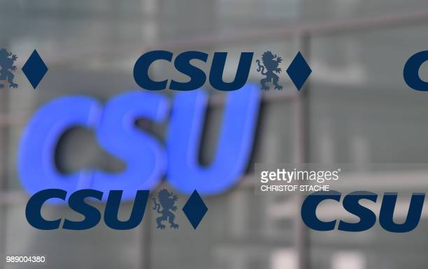 The logo of the Christian Social Union party is seen at the party's headquarter during a leadership meeting of the Bavarian CSU party sister of the...