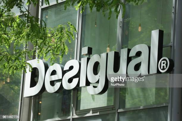 The logo of the clothing brand Desigual headquartered in Barcelona, Catalonia, Spain, which is notable for its trendy patchwork designs, intense...