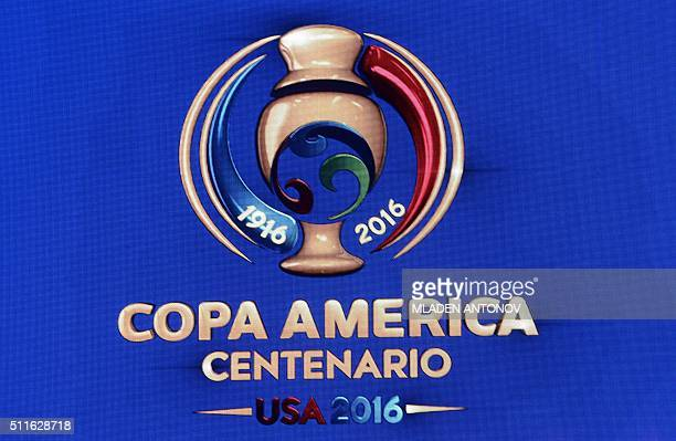 The logo of the Copa America Centenario 2016 championship is pictured before the official draw at the Hammerstein Ballroom in New York on February 21...