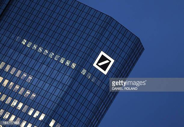 FILES The logo of the Deutsche Bank is seen at the company's headquarters towers in Frankfurt am Main western Germany on December 8 2011...