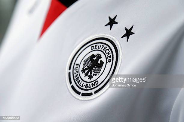 The logo of the DFB during an unofficial presentation of the new German FIFA World Cup 2015 home jersey at the adidas Brand Center on April 2 2015 in...