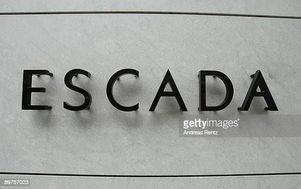 The logo of the Escada AG the luxury clothing company is pictured on August 12 2009 in Berlin Germany Escada AG directors will today discuss filing...