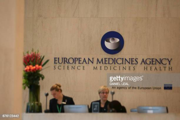 The logo of the European Medicines Agency is pictured in the reception area of their offices after the visit of Spanish Health Secretary Dolors...