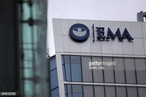The logo of the European Medicines Agency is seen on the office building after the visit of Spanish Health Secretary Dolors Montserrat in Canary...