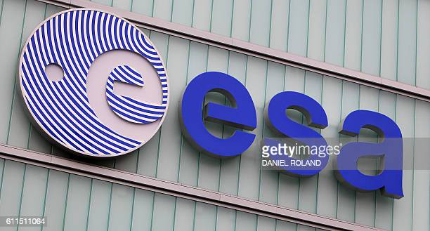 The logo of the European Space Agency in Darmstadt western Germany is pictured at the day of the controlled descent of the ESA space probe Rosetta...