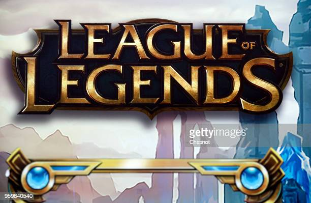 The logo of the famous free online battle type video game League of Legends is displayed during the Mid Season Invitational League of Legends at the...