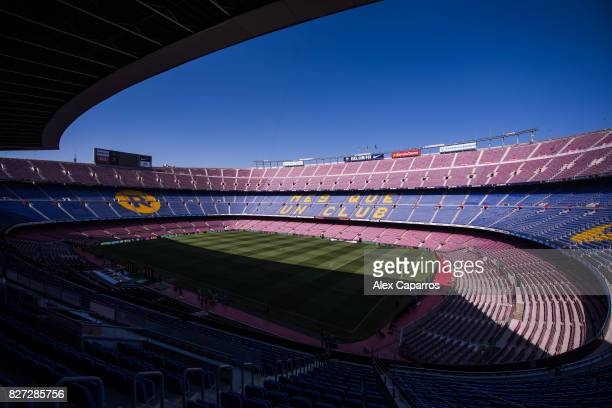 The logo of the FC Barcelona's main global partner Japanese ecommerce company Rakuten is seen in the stands of the Camp Nou stadium ahead of the Joan...