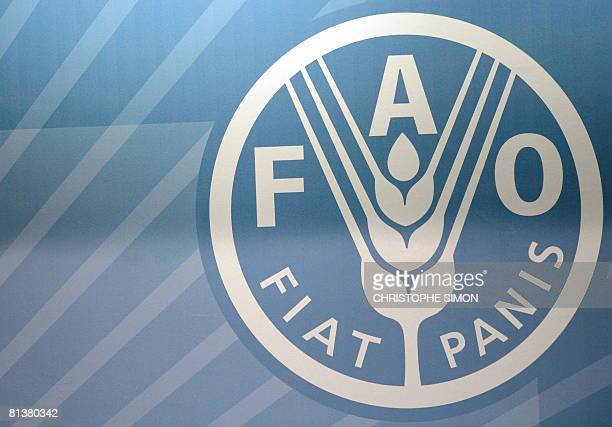 The Logo of the Food and Agriculture Organization is seen at a conference room during a summit of the FAO in its headquarters on June 3 2008 in Rome...
