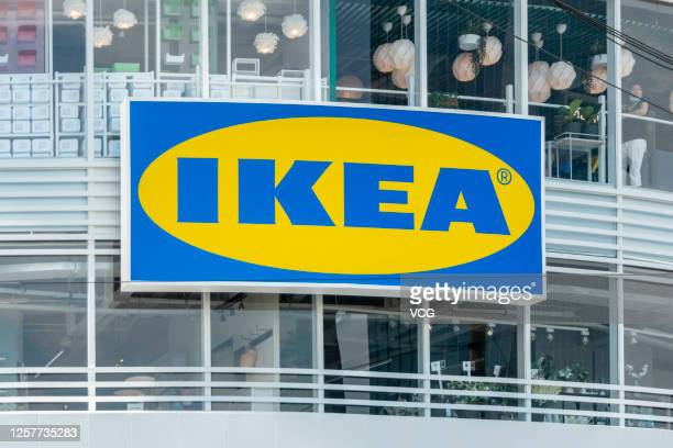 The logo of the furnishing group IKEA hangs above the entrance to a new IKEA store on the opening day on July 23, 2020 in Shanghai, China.