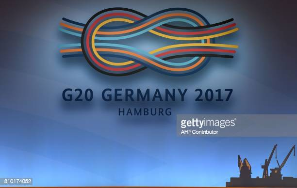 The logo of the G20 summit in Hamburg northern Germany is pictured on July 7 2017 Leaders of the world's top economies gather from July 7 to 8 2017...