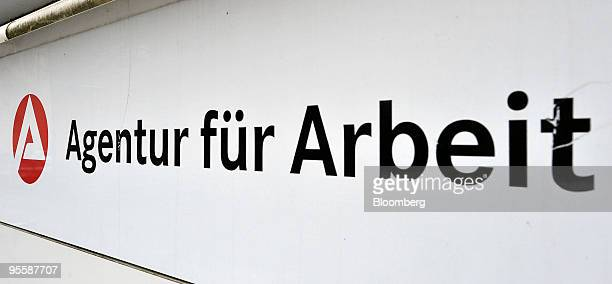 The logo of the German federal unemployment office or Arbeitsagentur is seen in Rosenheim Germany on Tuesday Jan 5 2010 German unemployment...