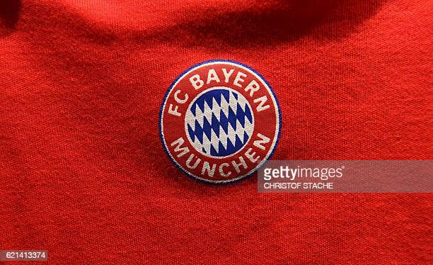 The logo of the German first division Bundesliga football team FC Bayern Munich is pictured during the official opening of the new Bayern Munich fan...