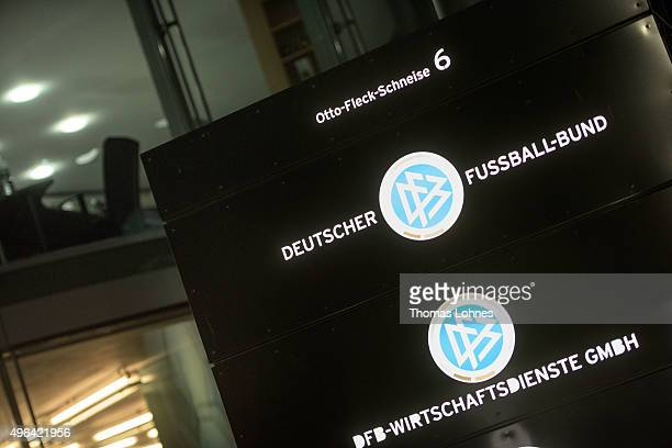 The logo of the German Football Association and an empty office pictured at DFB headquarters on November 9 2015 in Frankfurt am Main Germany Wolfgang...