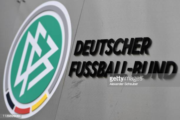 The logo of the German Football Association seen at DFB Headquarter on April 02 2019 in Frankfurt am Main Germany Reinhard Grindel President of the...