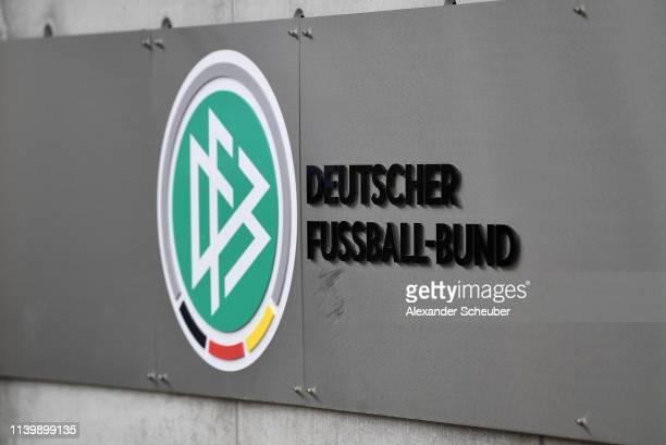 The logo of the German Football Association seen at DFB Headquarter on April 02, 2019 in Frankfurt am Main, Germany. Reinhard Grindel, President of...