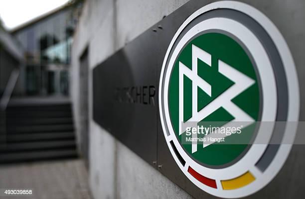 The logo of the German Football Association seen at the headquarter of the German Football Association on October 17 2015 in Frankfurt am Main...