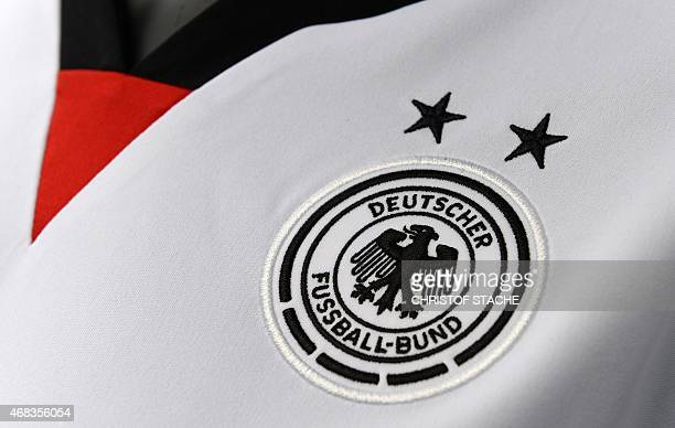 The logo of the German Football Federation can be seen on a jersey of the German women's national football team on April 2 2015 in Herzogenaurach...
