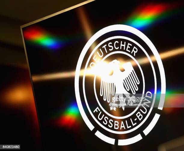 The logo of the German National Football Association DFB is displayed during a press conference of the German National team at MercedesBenzMuseum on...