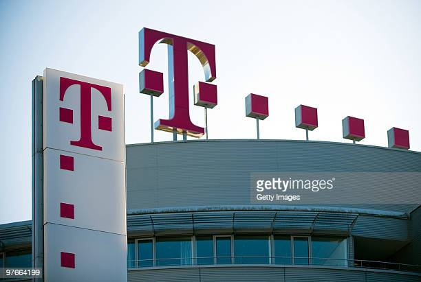 The logo of the German telecoms provider Deutsche Telekom is seen at the company's headquarters on March 09 2010 in Bonn Germany