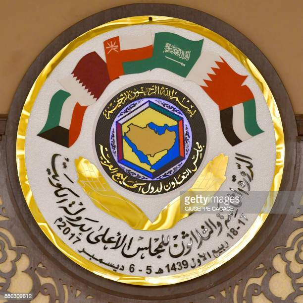 The logo of the Gulf Cooperation Council is pictured at the GCC summit in the Bayan palace in Kuwait City on December 5 2017 The Gulf Cooperation...
