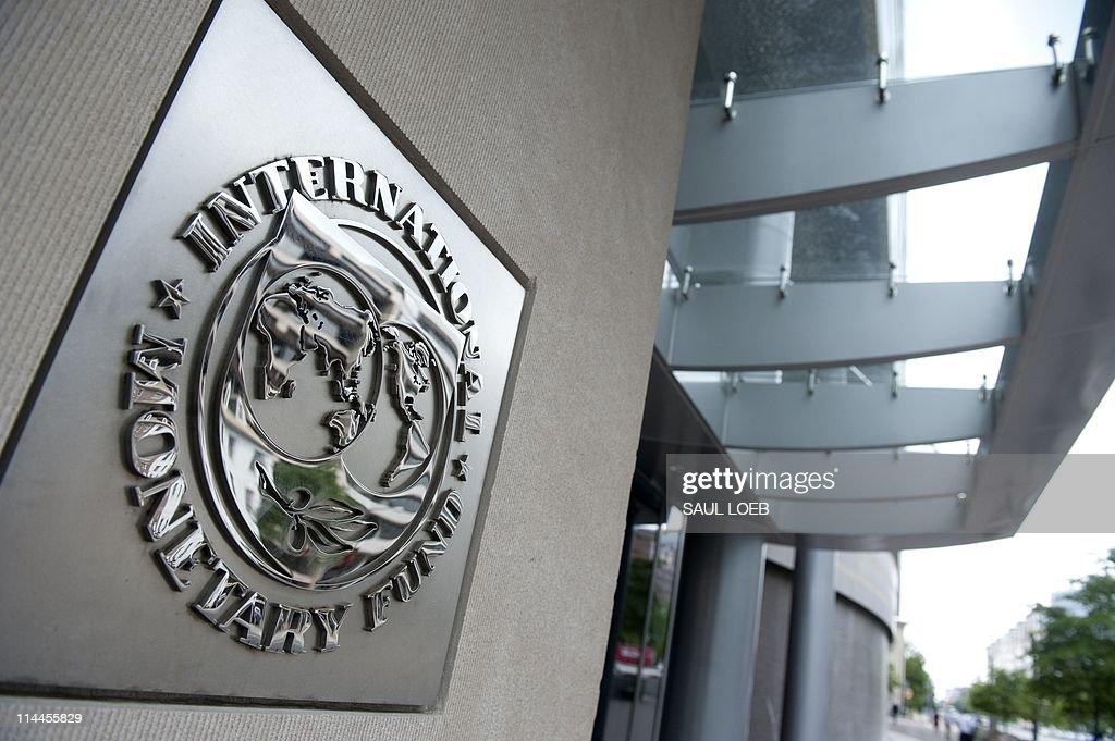 The logo of the International Monetary F : News Photo